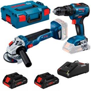 Kit Bosch (GSB 18V-55 + GWS 18V-10 + 2 x 4 Ah Pro Core + L-Boxx)