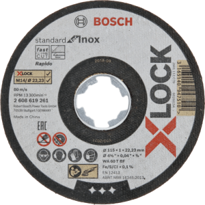 Bosch Professional Standard - 10 discos de corte recto (para inoxidable, X-LOCK, Ø115 mm