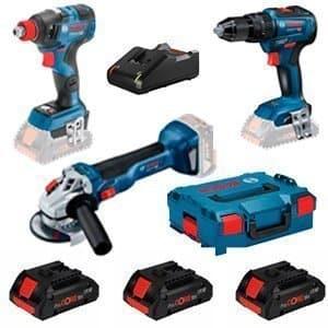 Kit Bosch GSB 18V-55 + GWS 18V-10 + GDX 18V-200C + 3 x 4 Ah Pro Core + L-Boxx
