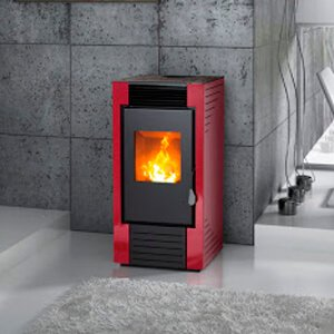 Estufa de pellets de aire-ventilación forzada - Lisbona S1 rojo