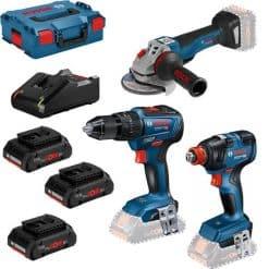 Kit Bosch GSB 18V-55 + GWS 18V-10 + GDX 18V-200 + 3 x 4 Ah Pro Core + L-Boxx+L-Case