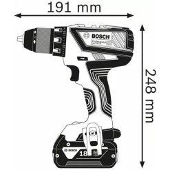 Taladro/atornillador a Batería Bosch GSR 18 V-28 Professional medidas